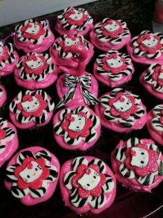 Zebra Hello Kitty Cupcakes