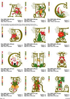 Christmas Alphabet machine embroidery 26 letters