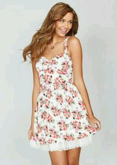 Dress floral red white cute