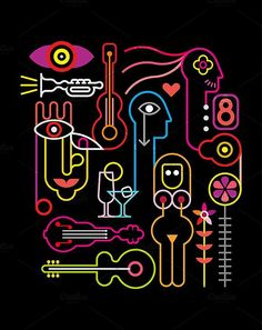 Abstract Neon Illustration. Party