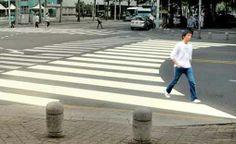 Curvy crossing - follows a natural desire line.  Brilliant.