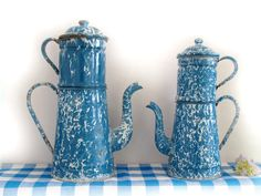 Circa 1920,pretty antique french blue and wite enamelware completed coffee pot