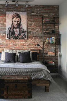 It's essential that you find the room you sleep in relaxing, particularly in this era when the stress of a busy life can prevent a normal sleep cycle. [Relaxing Bedroom Ideas, Creating A Relaxing Bedroom, Industrial Bedroom Ideas, Rustic Bed Frame, Bookshelf Ideas, Interior Brick Wall, Rustic Chest Ideas, Industrial Design]