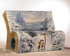 The benches are based on a range of iconic books such as The Lion, the Witch and the Wardrobe...