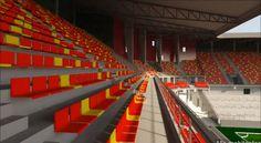 Render AFAS Stadion Achter de Kazernem, Malinas (en neerlandés Mechelen), Bélgica, Capacidad 18.500 espectadores, Equipo local KV Mechelen. Imagen del diseño que tendrá cuando este terminado.