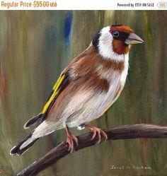 VENTA aves arte pintura europea jilguero SFA fauna Original pintado a mano pintura acrílica aves por australiano artista Janet M Graham