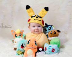 Crochet sombrero de Pikachu y pokebola/Pokemon Set recién nacido fotografía Prop lactante Halloween/disfraz/Baby Shower pastel de regalo/Pokemon Smash