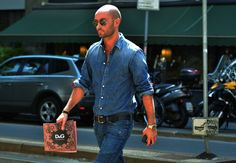 Who can pull off double denim? Milan Vukmirovic. (Photo credit: Tommy Ton/GQ)