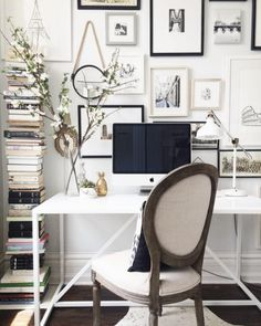 Eggshell Home_Home Office White and Black Gallery Wall Book Stack_via Domino Pinterest_AlainaKaz