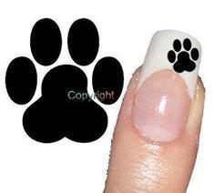 50 Black Dog Paw Print Tattoo Nail Art Decals sticker | Dog Paw ...