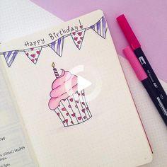 Bullet Journal 17, Birthday Bullet Journal, Bullet Journal Junkies, Happy Birthday Drawings, Birthday Card Drawing, Happy Birthday Me, Happy Birthday Doodles, Birthday Letters, Birthday Cards