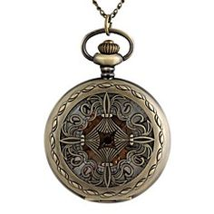 Vintage Large Circular ChromeHearts Cross Hollow Pattern Metal Clamshell Mechanical Pocket Watch Necklace Watch (1Pc)