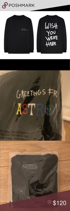 a9dc3caac6d6 TRAVIS SCOTT MERCH: GREETINGS FROM L/S T-SHIRT Travis Scott Astroworld merch.  Brand new/unopened, size Large, retail price is 65$, will ship ASAP.