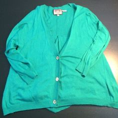 """Juicy Couture Cardigan Repost• Super cute jewel tone juicy cardigan. Definitely designed for someone small framed. I'm 5'4 and usually wear a 14. This fit well almost a """"cropped"""" look to it. Cardigans just aren't my thing! Just trying to get back what I paid! Juicy Couture Sweaters Cardigans"""