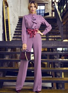 Purple Bows Sashes office Argyle Womens Jumpsuits - Women Jumpsuit - Ideas of Women Jumpsuit Paris Chic, Suit Fashion, Fashion Dresses, Womens Fashion, Fashion 2018, Asos Jumpsuit, Black Jumpsuit, Classy Outfits, Cute Outfits