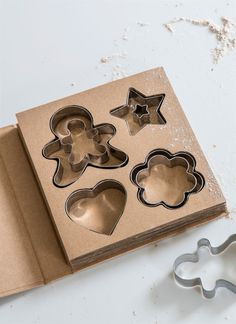 Four cookie cutting shapes in stainless steel