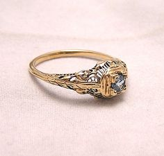 Antique Art Deco 9K Filigree Ring with Blue Stone by luvintage.  I love filigree rings.