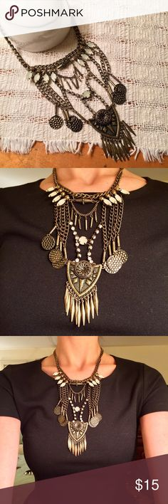 Long boho statement necklace Beautiful statement necklace with chains and intricate rhinestone and metalwork. Purchased at Nordstrom but forgot the brand. Nordstrom Jewelry Necklaces