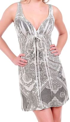 This casual sun dress is soft, stretchy and empire cut. Lightweight and perfect summer in tribal sublimation print. Fabric is rayon/spandex. Free ship in U.S.A.