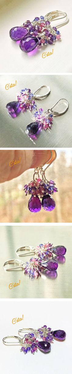 Amethyst, Pink Tourmaline, Blue Quartz Gemstone Cluster Earrings by C'sta!