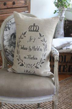 Pair of German Grain Sack Pillow Shams - Atelier be - de Beauchêne & Cie.