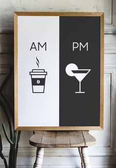 Am Pm Printable art Kitchen poster Coffee & Margarita Home Kitchen Posters, Kitchen Prints, Kitchen Art, Diy Wall Art, Home Decor Wall Art, Diy Home Decor, Coffee Signs, Interior Design Tips, Margarita