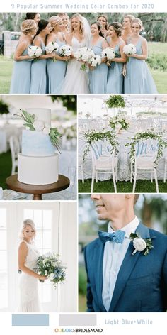 9 Popular Summer Wedding Color Combos for Light blue + White. wedding blush 9 Popular Summer Wedding Color Combos for 2020 wedding lavender Light Blue Bridesmaid Dresses, Blue Bridesmaids, Wedding Bridesmaids, Bridesmaid Bouquets, March Wedding Colors, Wedding Colours, Ice Blue Weddings, Summer Weddings, Color Combos
