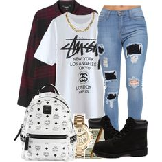 A fashion look from March 2015 featuring Monki tops, Timberland ankle booties and MCM backpacks. Browse and shop related looks.