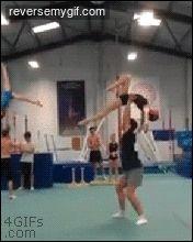 Cheerleader gymnastics flips | Reverse My Gif