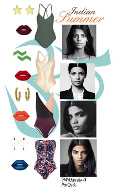 Bhumika Arora summer inspiration by blue-jeans-baby on Polyvore featuring polyvore, mode, style, STELLA McCARTNEY, Solid & Striped, George J. Love, Mikoh, David Webb, Jennifer Meyer Jewelry, Isabel Marant, Lime Crime, fashion, clothing and indian