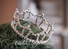 Vintage Rhinestone Crown Tiara Pageant Crown by edithandevelyn on Etsy