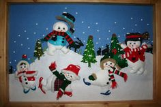 094 muñecos de nieve elaborados en paño lency - Belén de Maritza ...