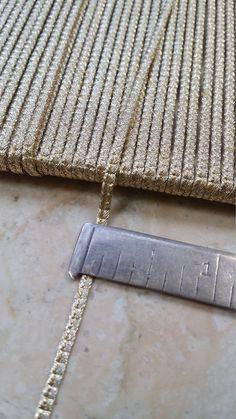 "1/10"" Vintage French Metal Light Gold Uniquely patterned Soutache Braid Trim thread cord doll  reenactment ( a bit narrower that 1/8"")"