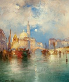 Thomas Moran - Moonrise, Chioggia, Venice - 1897