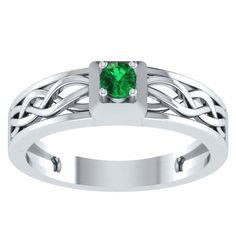 0.55 ct Emerald Solitaire Engagement Wedding Ring in 14kt Gold Over Silver #RegaaliaJewels #Solitaire