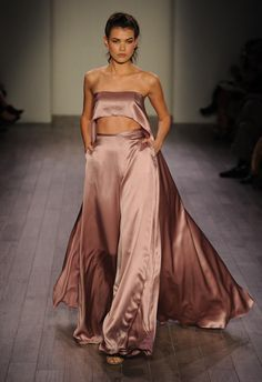 Hayley Paige Fall 2016 mauve silk two piece pantsuit | https://www.theknot.com/content/hayley-paige-wedding-dresses-bridal-fashion-week-fall-2016