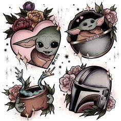 Baby Tattoos, Cool Tattoos, Yoda Images, Yoda Funny, Star Wars Tattoo, Star War 3, Face Expressions, Star Wars Art, Mandalorian
