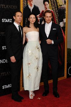 3 FANTASTIC ACTORS - Tobias Menzies, Caitriona Balfe, and Sam Heughan at an event for Outlander (2014)