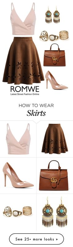 """Brown Skirt"" by vierac on Polyvore featuring Chicwish, ALDO, Gucci and romwe"
