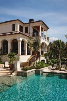 Hopefully move to Miami after already working for some plastic surgeons and hopefully have enough money to buy a nice villa in South Beach pool backyard Architecture Spanish Style Homes, Spanish House, Spanish Colonial, Spanish Mansion, Spanish Exterior, Style At Home, Mediterranean Homes, Mediterranean Architecture, Spanish Architecture