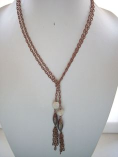 Double Copper Chain Wrap Around Necklace w/ by DesignsbyPattiLynn
