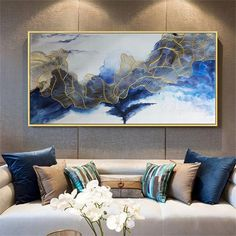 Gold art abstract painting canvas wall art picture for living room wall decor home decor bedroom blue color flow gold lines Original acrylic Gold art abstract painting wall art picture for living room Living Room Canvas, Living Room Art, Blue Living Room Decor, Acrylic Wall Art, Canvas Wall Art, Acrylic Canvas, Painting Canvas, Blue Canvas, Abstract Canvas Art