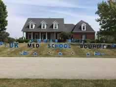 Why buy a card? Say it in the yard! We offer fun and unique ways to celebrate any occasion. Graduation is around the corner! Graduation Yard Signs, Congratulations Graduate, Med School, Fun, Cards, Corner, Letters, Unique, Ideas