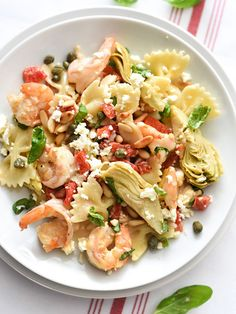Shrimp Pasta with Roasted Red Peppers and Artichokes - foodiecrush