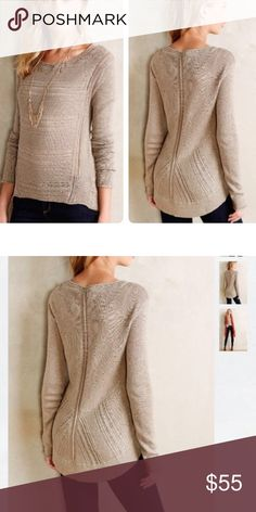 Anthropologie Stitched mix pullover Very pretty pullover mix of cotton wool alpaca. Mixed stitches and rich hues give this high-low pullover some added oomph. Brand new. Never worn Anthropologie Sweaters
