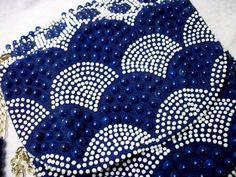 Blue and White Beaded Saddlebag Purse - Vintage Mod 60s Handbag