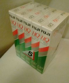Lot of 5 Fuji Factory Sealed High Quality HQ 120 Blank VHS Tapes 6 Hrs Each New…