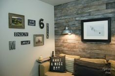 s you might rethink your home office when you see these brilliant ideas, home decor, home office, This one with a plank wall and lounge sofa