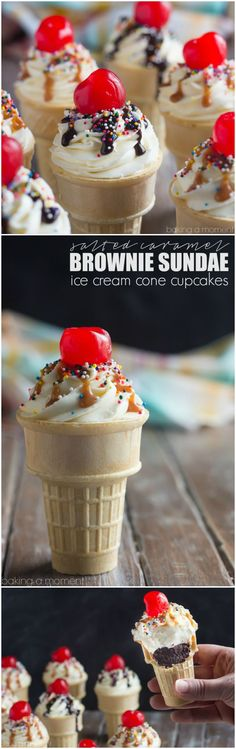 Brownie Sundae Ice Cream Cone Cupcakes- These were insanley good with the salted caramel sauce! ~ http://bakingamoment.com