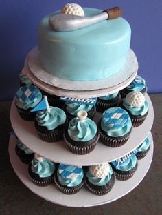 Not the colors, but like the idea  Golf Cupcake Tier by clevercupcakes, via Flickr